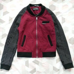 Members Only Wool Studded Moto Bomber Jacket Red